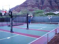 Basketball courts in Tampa with concrete painted surface.